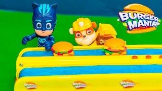 getlinkyoutube.com-PAW PATROL Disney PJ Masks Plays Burger Mania Game New Toys Video