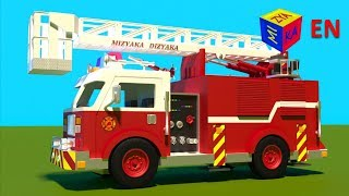 getlinkyoutube.com-Fire trucks for children kids. Fire trucks responding. Construction game. Cartoons for children