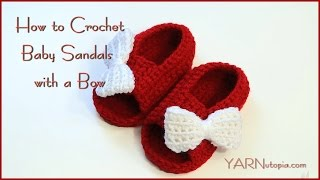 getlinkyoutube.com-How to Crochet Baby Sandals with a Bow