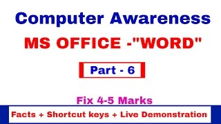 MS OFFICE- WORD | Facts | Shortcut keys | Live Demonstration | Computer Awareness [in Hindi] Part 6