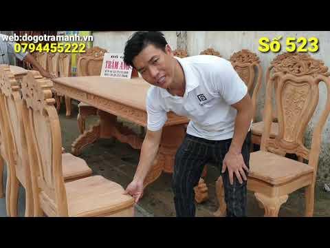 Bộ bàn ăn gõ đỏ 10 ghế (mặt 3cm) giá 46 triệu|Đồ Gỗ Trâm Anh| Số 523