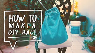 getlinkyoutube.com-Drawstring Bag DIY | How to Make a Backpack | Back to School DIY (DIY Regreso a Clases)