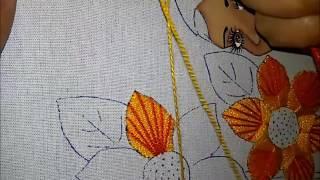 Puntada fantasia flor girasol.