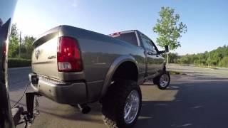 "getlinkyoutube.com-2012 Lifted Ram 3500 6.7 Cummins - Towing Trailer - 4"" Straight Pipe Exhaust"
