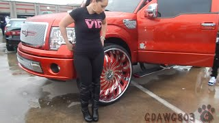 "getlinkyoutube.com-BEATIN - Candy Red Harley Davidson F150 on 32"" Amani Forged @ Stuntfest 2k14"