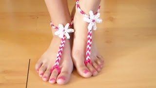 getlinkyoutube.com-Como Hacer Sandalias de Gomitas para los pies descalzos sin telar
