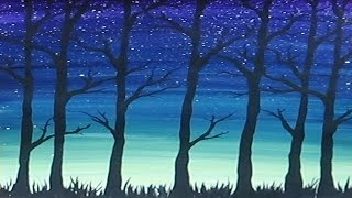 getlinkyoutube.com-Acrylic Painting - Simple Trees Silhouette