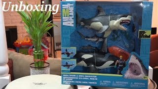Toys for Kids: Animal Planet's Mega Shark and Orca Encounter Unboxing & Playtime
