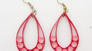 getlinkyoutube.com-PAPER EARRINGS - How to make Simple Quilling Earrings Using Paper - Making Tutorial