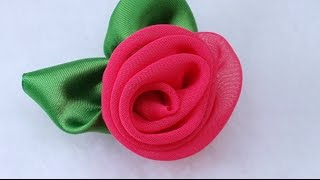 getlinkyoutube.com-DIY Fabric Flower Vintage Rose, Chiffon flower Tutorial, Variant  #3