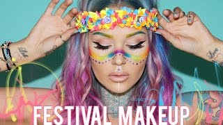 getlinkyoutube.com-Fun, Wearable Rainbow Festival Makeup | KristenLeanneStyle