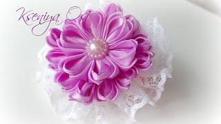 """getlinkyoutube.com-цветок канзаши  """"Сиреневая нежность"""" своими руками"""