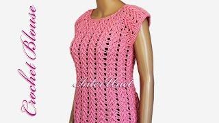 getlinkyoutube.com-Blouse crochet pattern – lace pink top crochet tutorial