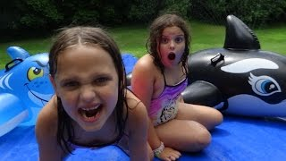 "getlinkyoutube.com-Giant Slip N Slide Party ""Toy Freaks Family Fails"" Victoria Annabelle Freak Daddy"