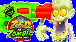 getlinkyoutube.com-Zed The Zombie Vs Nerf Zombie Strike Guns Lots Of Freakish Family Fun