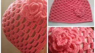 getlinkyoutube.com-Шапочка крючком Baby Crochet Hat (eng subs)