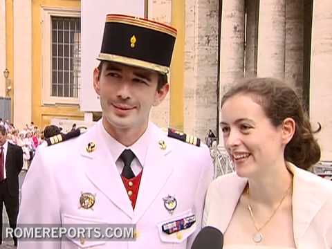 White and with Tuxedo  Newlyweds Visit Pope at the Vatican