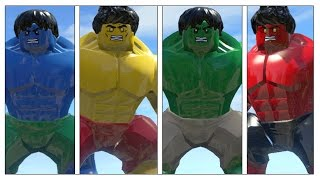 getlinkyoutube.com-Blue Hulk Vs Hulk(Transformation)Vs Yellow Hulk Vs Red Hulk - Lego Marvel Super Heroes Game