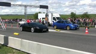 getlinkyoutube.com-Lamborghini Gallardo LP560 vs Subaru Impreza Sti Airfield Race 2009