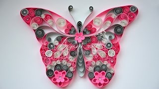 getlinkyoutube.com-Quilling Pink Butterfly Tutorial