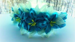 getlinkyoutube.com-Канзаши мастер класс.Цветочный ободок.DIY Kanzashi Flower ring