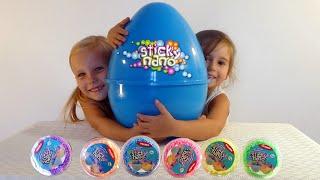 getlinkyoutube.com-ЧАСТЬ 2 Открываем БОЛЬШОЕ яйцо Sticky Nano, Волшебный Песок, Пластилин DIDO, Маша и медведь
