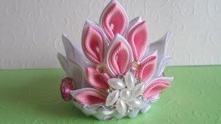 getlinkyoutube.com-Корона Новогодняя Принцеса . Канзаши мастер класс / Crown Christmas Princesa . kanzashi masterclass