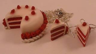 getlinkyoutube.com-Polymer Clay Red Velvet Cake - Earrings and Necklace