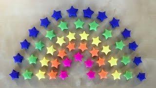 getlinkyoutube.com-Origami Stern basteln mit Papier - Geschenke selber machen - DIY - Ideen - 3D Regenbogen Deko