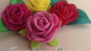 getlinkyoutube.com-ROSAS PEQUEÑAS DE FOAMY O GOMA EVA.- SMALL FOAM ROSES.