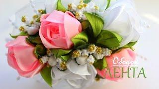 getlinkyoutube.com-🌺 Чайные Розы канзаши из Лент  / 🌺 Tea Roses kanzashi ribbons