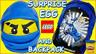 getlinkyoutube.com-GIANT PLAY DOH SURPRISE EGG NINJAGO LEGO JAY Blue Ninja and Surprise Backpack