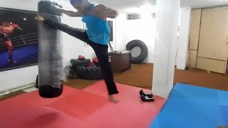 getlinkyoutube.com-تعلم ركلة باك سايد كيك الطايرة كونغ فو تايكوندو How to flying backside kick kung fu