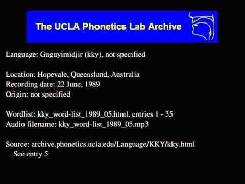 Guguyimidjir audio: kky_word-list_1989_05