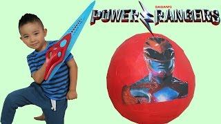 getlinkyoutube.com-New Power Rangers Movie 2017 Toys Unboxing Giant Surprise Egg Opening Fun Ckn Toys