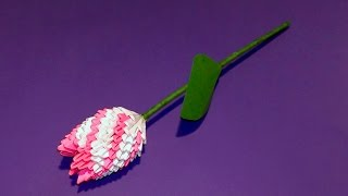 getlinkyoutube.com-3D origami flower tulip tutorial (Gifts for Mother's Day)