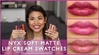 getlinkyoutube.com-NYX Soft Matte Lip Cream Swatches || Sunshine Carreon
