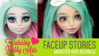 getlinkyoutube.com-Repainting Monster High Rochelle - Faceup Stories 36 collab with Debby Arts