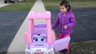 getlinkyoutube.com-Sweet Girl Riding in the Little Tikes Cozy Coupe Princess Truck