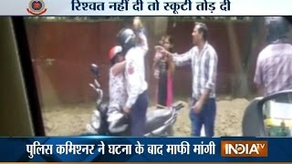 getlinkyoutube.com-OMG! Delhi Traffic Cop Hits at Woman with Brick for Not Paying Bribe - India TV
