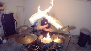getlinkyoutube.com-Burn - Drum Cover with Fire Sticks - Ellie Goulding - Drumming With Fire (Brit Awards 2014 song)