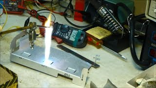 getlinkyoutube.com-Arcing Sand With My Homemade High Voltage Flyback Transformer, Current, and Power Tests