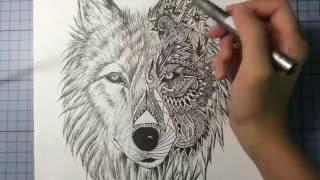 getlinkyoutube.com-Wolf Mandala Drawing