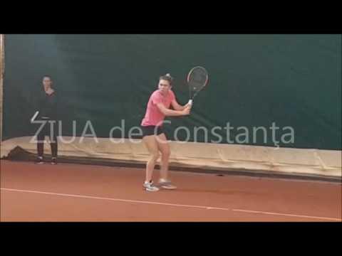 Simona Halep training ahead her match against team GB