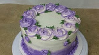 getlinkyoutube.com-Simple ROSETTE OMBRE CAKE. Cake Decorating.