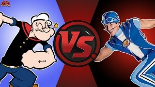 POPEYE vs SPORTACUS! (Popeye vs Lazy Town) Cartoon Fight Club Bonus Episode 10