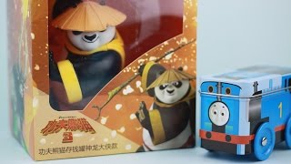 getlinkyoutube.com-Kungfu panda 3 Money box World Coins with Frozen Princess and Thomas the Train |Fun Toys