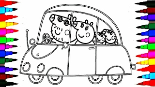 getlinkyoutube.com-PEPPA PIG Coloring Book Pages Kids Fun Art Activities Videos for Children Learning Rainbow Color Car