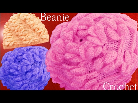 como hacer gorro en punto de pétalos en alto relieve a Crochet