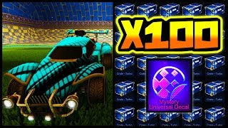 100 TURBO CRATE OPENING + MYSTERY DECAL IN ROCKET LEAGUE!!